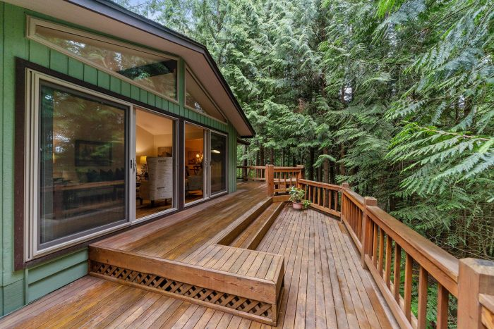 A deck in the woods