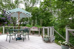 Patio Deck with table, umbrella, and chairs