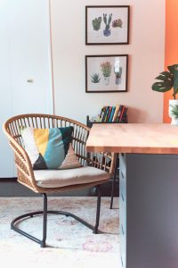 chair at desk with spring colors and accessories