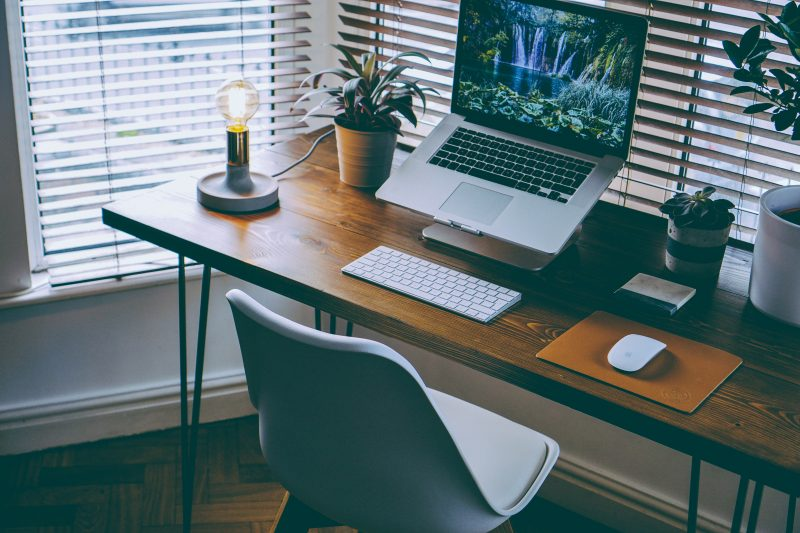 home office desk with detail