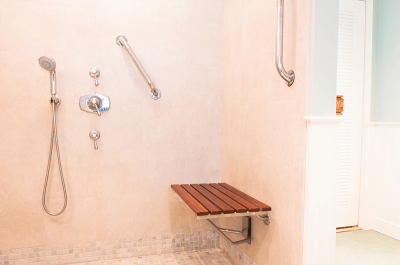 Handicap Accessible Bathroom And Shower With Bench