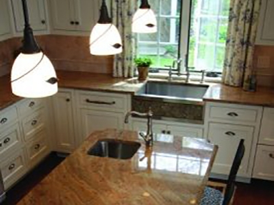 Traditional Kitchen with Island and a Bar Sink